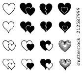 set of vector hearts  | Shutterstock .eps vector #212587999