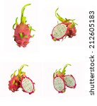 pitaya set of dragon fruit | Shutterstock . vector #212605183