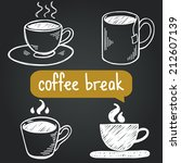 coffee break hand drawn sketchy ... | Shutterstock .eps vector #212607139