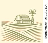 agriculture landscape with barn ... | Shutterstock .eps vector #212612164