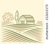 agriculture landscape with barn ... | Shutterstock .eps vector #212612173