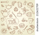 hand drawn tea doodle concept... | Shutterstock .eps vector #212622709