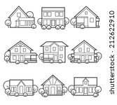 house icons set suburb country... | Shutterstock .eps vector #212622910