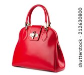 Small photo of Red glossy female leather bag isolated on white background