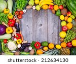 flat lay   collection of fresh... | Shutterstock . vector #212634130