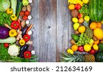 flat lay of huge group of fresh ... | Shutterstock . vector #212634169
