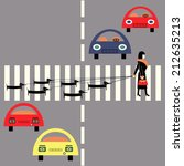 woman with dogs crossing street ... | Shutterstock .eps vector #212635213