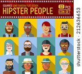 hipster people flat long shadow ... | Shutterstock .eps vector #212636653