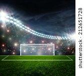 soccer ball on green stadium... | Shutterstock . vector #212651728