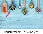 Colorful Spices And Herbs On...
