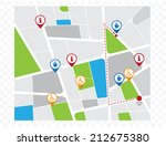 city map with navigation icons | Shutterstock .eps vector #212675380