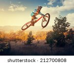 man high jump on a mountain... | Shutterstock . vector #212700808