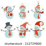 Set Of Retro Snowmen. Six...