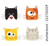 cat emotions composite isolated ... | Shutterstock .eps vector #212732329