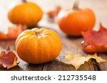 Autumn Halloween Pumpkins On...
