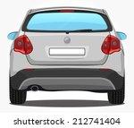 vector silver car   back view | Shutterstock .eps vector #212741404