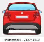 vector red car   back view | Shutterstock .eps vector #212741410