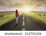 female college student walk on... | Shutterstock . vector #212751256