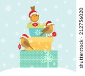 robins with christmas... | Shutterstock .eps vector #212756020