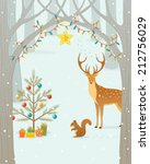 christmas gifts for forest... | Shutterstock .eps vector #212756029