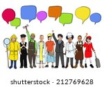 group of diverse kids with... | Shutterstock . vector #212769628