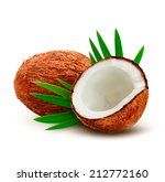 coconut with leaves. vector. | Shutterstock .eps vector #212772160