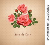 vintage card with roses vector... | Shutterstock .eps vector #212800039