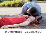 view of man checking if woman's ... | Shutterstock . vector #212807530