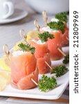 Finger Food. Rolls Of Salmon...