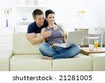 couple shopping on internet...   Shutterstock . vector #21281005