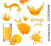 orange juice splashes set | Shutterstock .eps vector #212820448