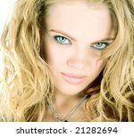 beauty blonde woman closeup face | Shutterstock . vector #21282694