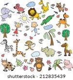 children's drawings of doodle...   Shutterstock .eps vector #212835439