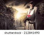 knight templar posing near some ... | Shutterstock . vector #212841490