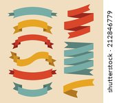 vector set of ribbons in flat... | Shutterstock .eps vector #212846779