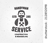 Textured version of retro Handyman carpenter corporate service badge symbol isolated on white background, good for creating logo design, vector illustration