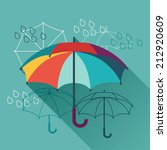 card with umbrellas in flat... | Shutterstock .eps vector #212920609