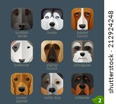 animal faces for app icons dogs ... | Shutterstock .eps vector #212924248