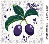 fresh plums with leaves. vector