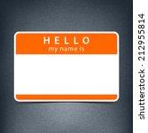 orange name tag blank sticker... | Shutterstock .eps vector #212955814