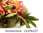 nice fresh fruit mixture in the pineapple - stock photo