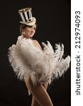 burlesque dancer in white dress ...