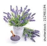 pot of lavender and bowl of... | Shutterstock . vector #212981194
