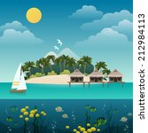 tropical island sea view with...   Shutterstock .eps vector #212984113