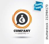 money bag sign icon. euro eur... | Shutterstock .eps vector #212984170