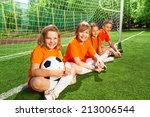 kids sitting together on field... | Shutterstock . vector #213006544