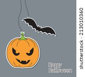 halloween pumpkin and bat in... | Shutterstock .eps vector #213010360
