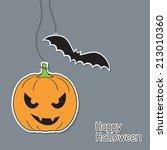 halloween pumpkin and bat in... | Shutterstock .eps vector #213010360