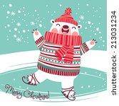christmas card with cute polar... | Shutterstock .eps vector #213031234