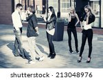 group of young fashion men and... | Shutterstock . vector #213048976